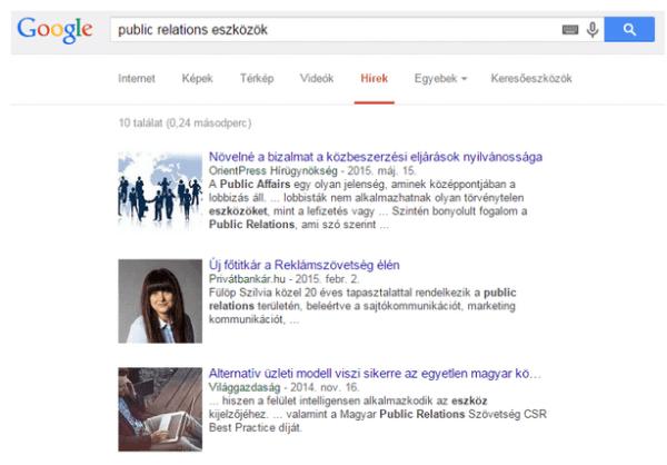 Public Relations eszközök: Google