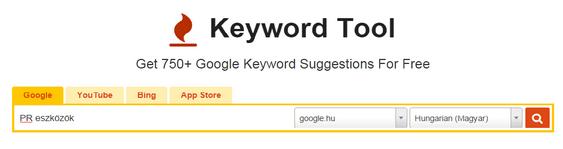 PR eszköz - keyword tool