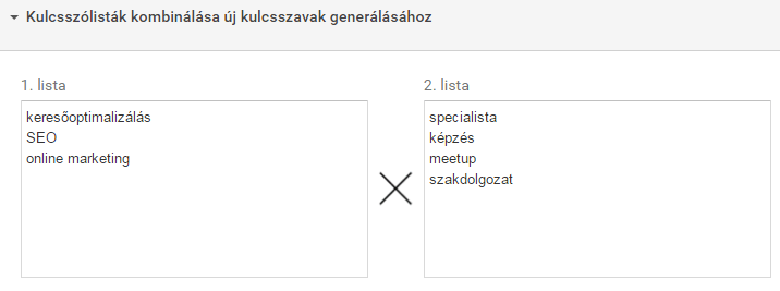Google Keyword Planner kombinacio