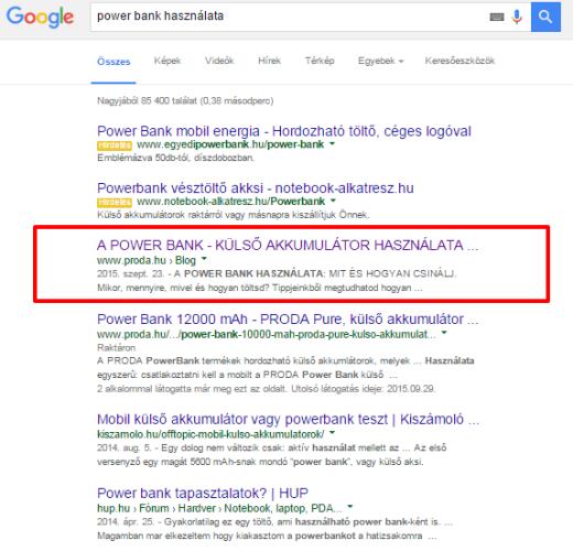 Power bank használata: google keresőoptimalizálás