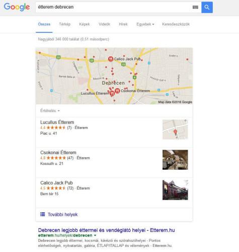 helyi keresőoptimalizálás - Debrecen éttermei