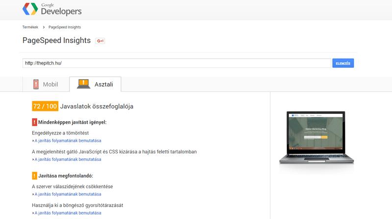 Weboldal sebesség teszt Google PageSpeed segítségével