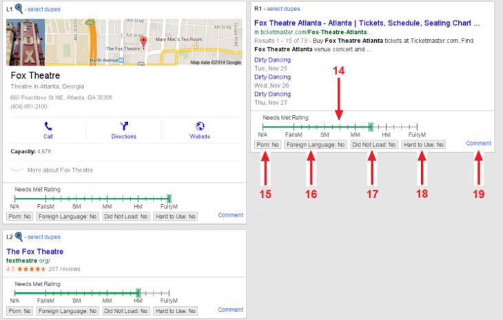 Google minőségi értékelőlap