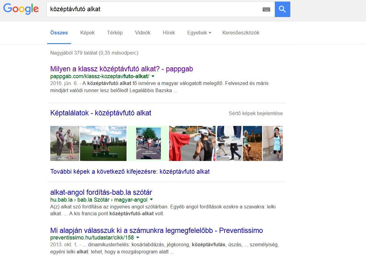 Google keresőoptimalizálás középtávfutó alkatra