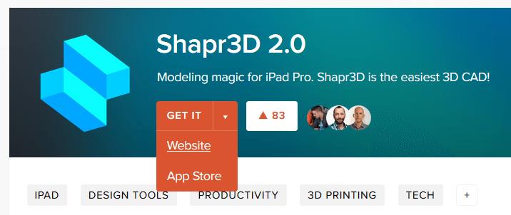 A Shapr3D termékoldala