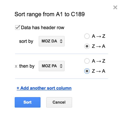 spreadsheet sort range