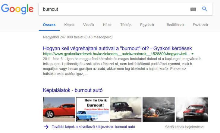 Burnout autó