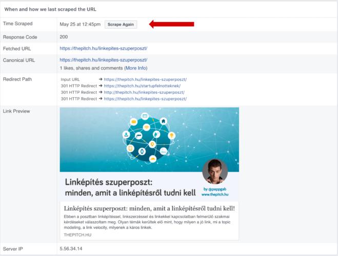 facebook debugger újra scrapelés
