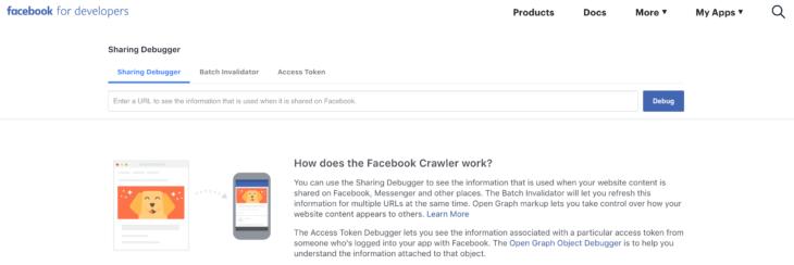 facebook debugger developers menü