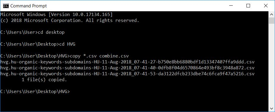 command prompt csv combine