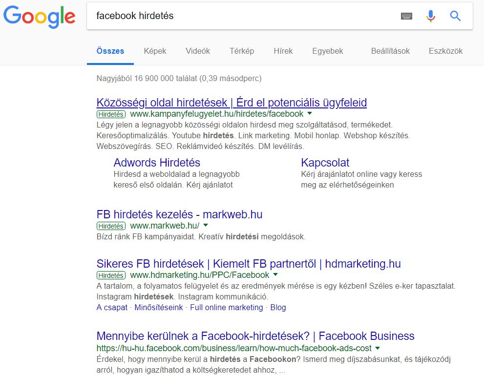 facebook hirdetes
