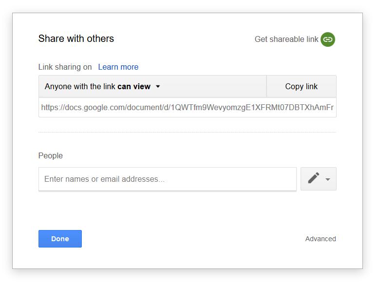 google dokumentum link megosztás