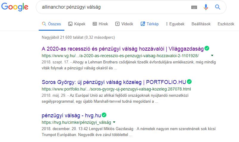 Google keresés allinanchor