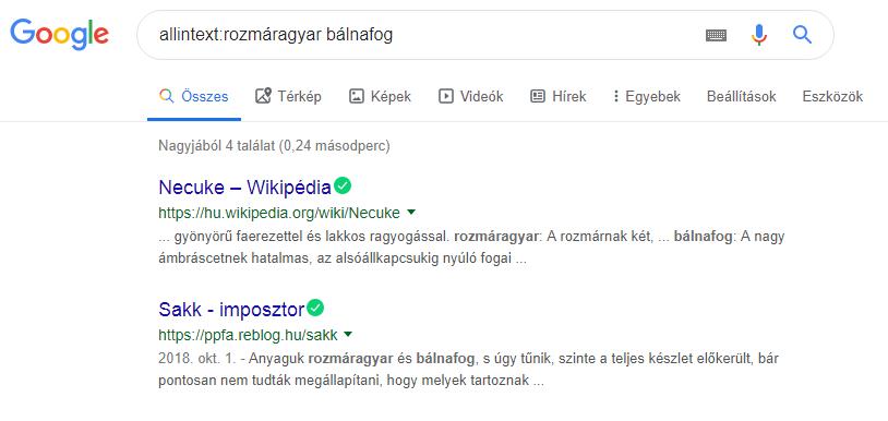 Google keresés allintext