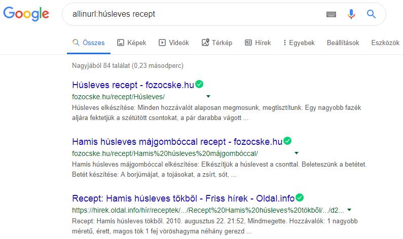 Google keresés allinurl