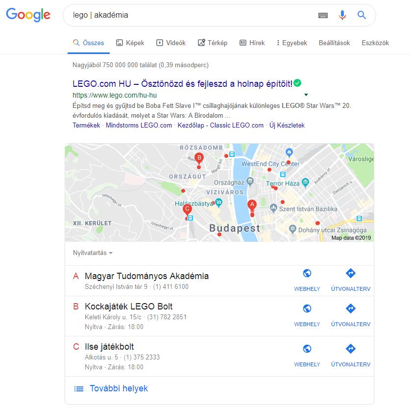 Google keresés cső