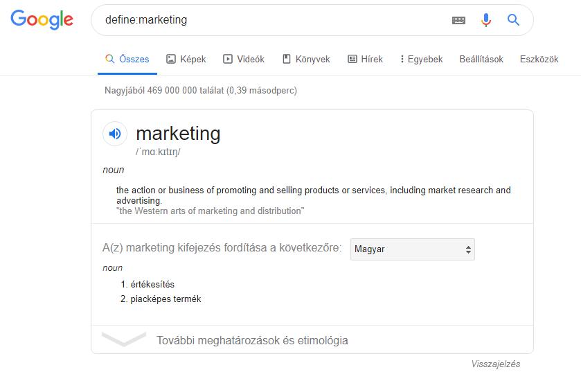 Google keresés define