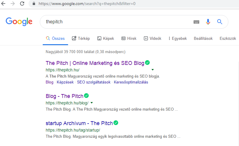 Google keresés filter