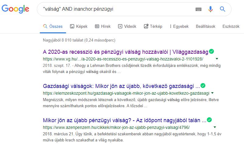 Google keresés inanchor