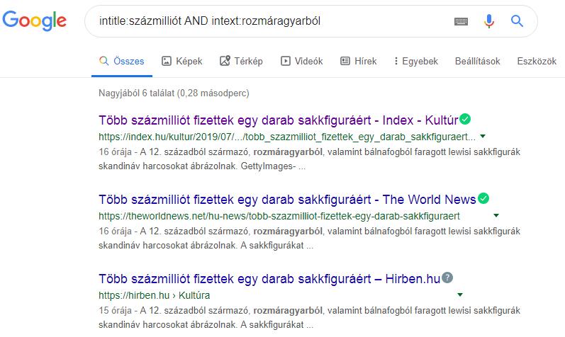 Google keresés intitle intext