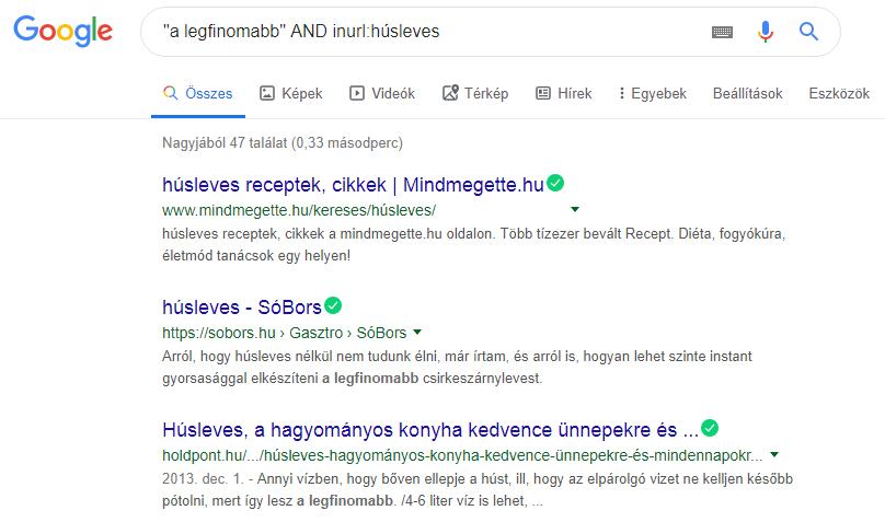 Google keresés inurl