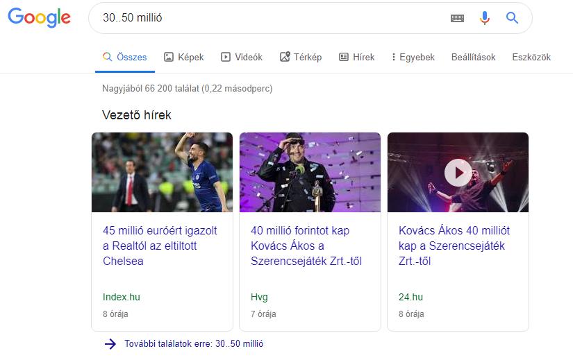 Google keresés két pont