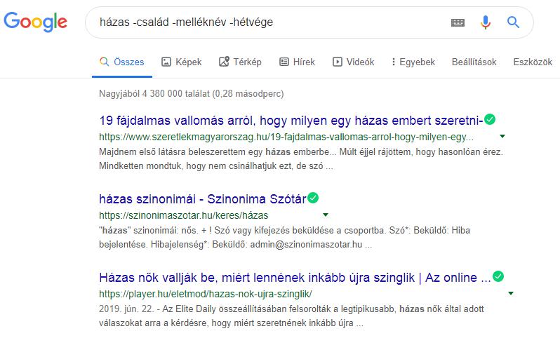 Google keresés kivonásjel 2