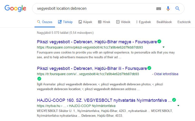 Google keresés location