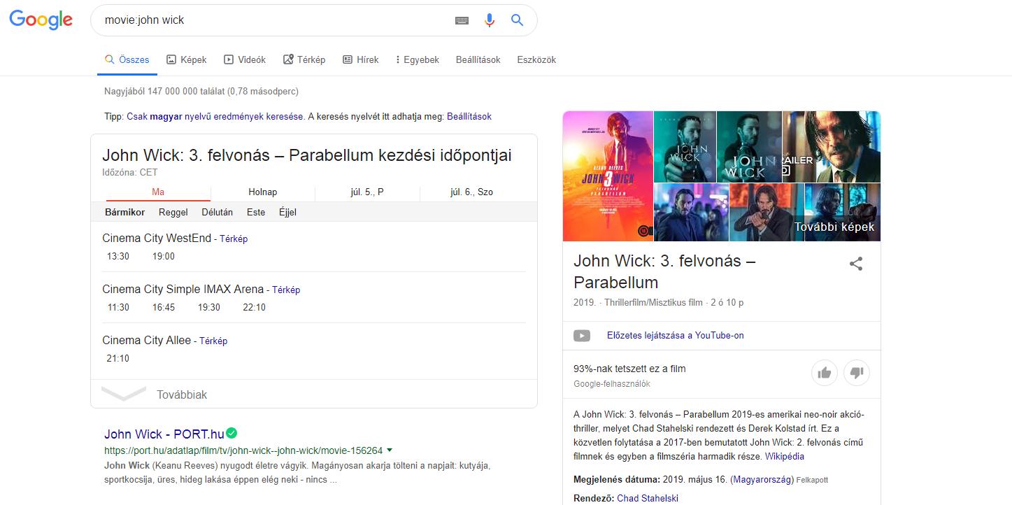 Google keresés movie