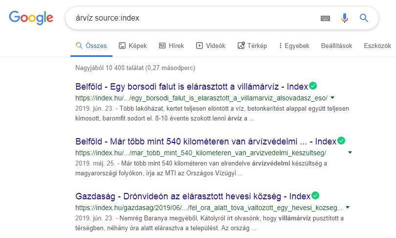 Google keresés source