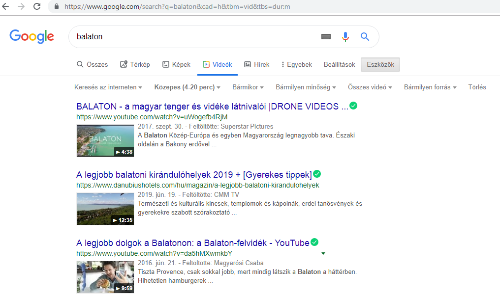 Google keresés vid