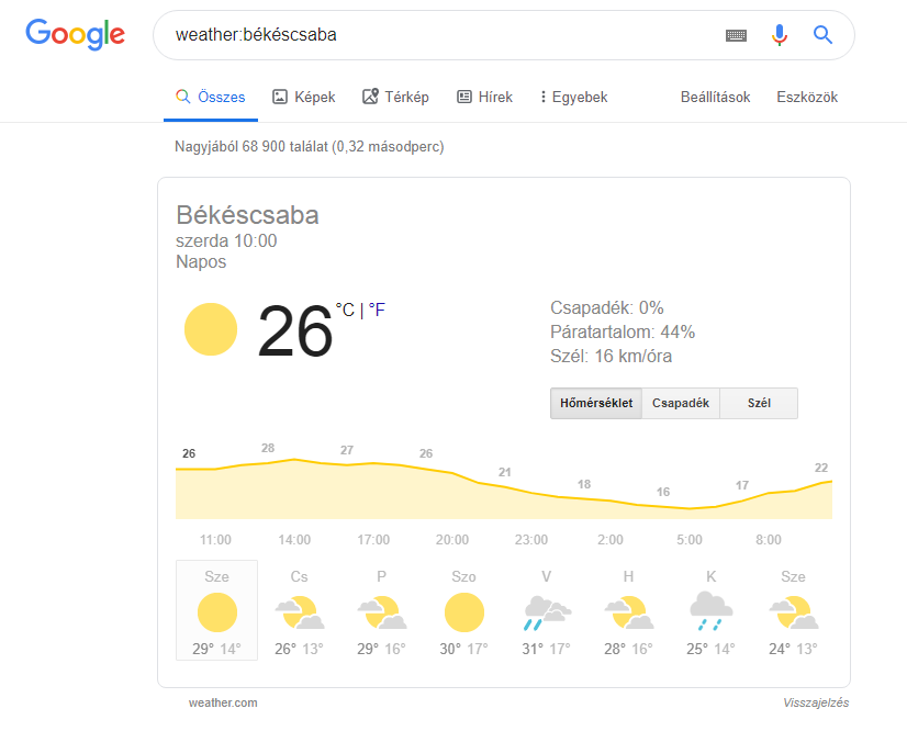 Google keresés weather