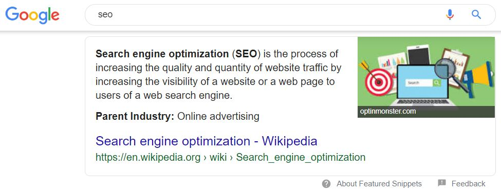 SERP featured snippet
